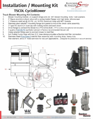 Installation Kit for T5CDL12L Truck Blower with Inlet Filter